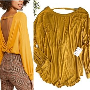 Free People Shimmy Shake Top in Gold